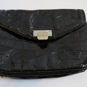Nine West Black Patent Clutch/Crossbody with chain